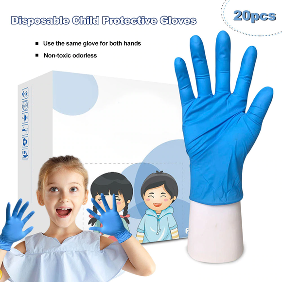 20Pcs Disposable Latex Gloves for Boys Girls Small Size