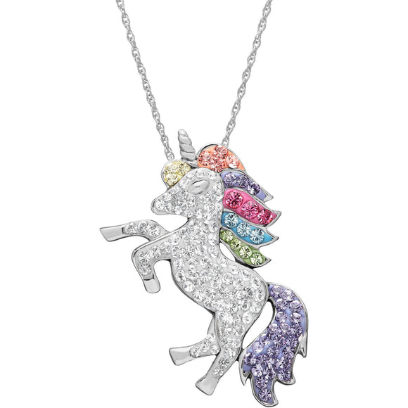 Sterling Silver Crystal Unicorn Pendant, 18