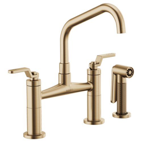 Brizo Litze® Bridge Faucet With Angled Spout And Industrial Handle | 62564LF-BLGL