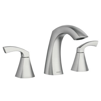 Moen Lindor Spot Resist Brushed Nickel Two-Handle High Arc Bathroom Faucet