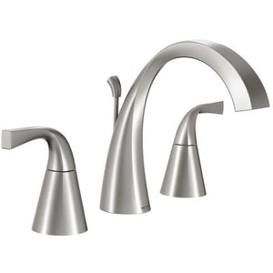 Moen Oxby Spot resist brushed nickel two-handle high arc bathroom faucet