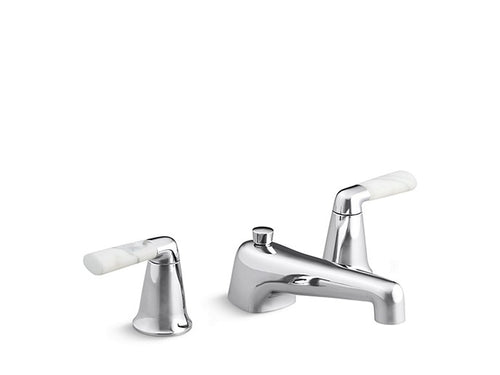 SINK FAUCET, STATUARY WHITE MARBLE LEVER HANDLES