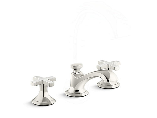 SINK FAUCET, LOW SPOUT, FROST RIPPLE ENAMEL CROSS HANDLES