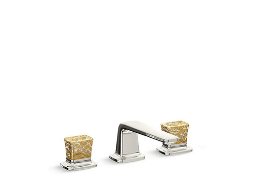 SINK FAUCET, LOW SPOUT, GOLD FLAKE CRYSTAL KNOB HANDLES