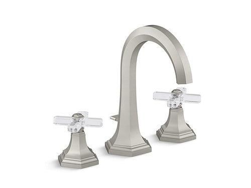 SINK FAUCET, TALL SPOUT, CRYSTAL CROSS HANDLES