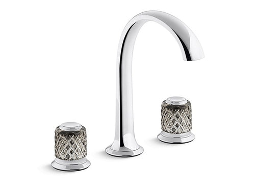 SINK FAUCET, ARCH SPOUT, SAINT-LOUIS CRYSTAL, FLANNEL GREY KNOB HANDLES