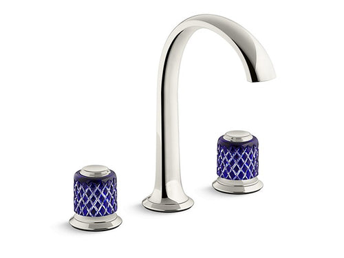 SINK FAUCET, ARCH SPOUT, SAINT-LOUIS CRYSTAL, DARK BLUE KNOB HANDLES