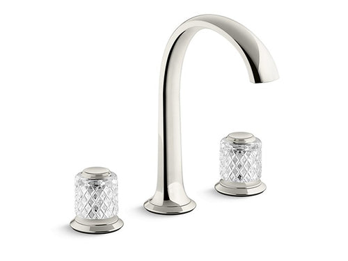 SINK FAUCET, ARCH SPOUT, SAINT-LOUIS CRYSTAL, CLEAR KNOB HANDLES