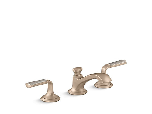 SINK FAUCET, LOW SPOUT, FLANNEL GREY WAVE ENAMEL LEVER HANDLES