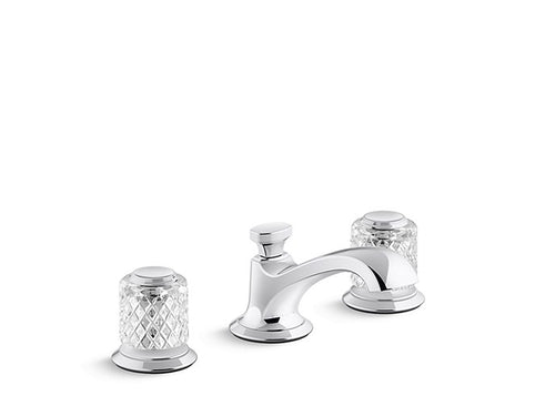 SINK FAUCET, LOW SPOUT, SAINT-LOUIS CRYSTAL, CLEAR KNOB HANDLES