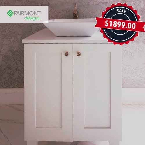 "24"" White Shaker Vanity Includes French Gold Margaux Vessel Faucet & Sink"