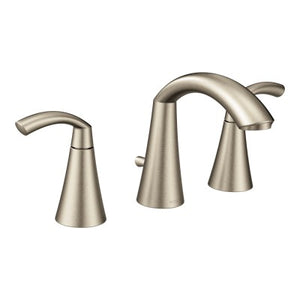 Moen Glyde Brushed nickel two-handle high arc bathroom faucet