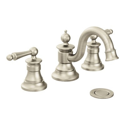 Moen Waterhill Brushed Nickel High Arc Bathroom Faucet | TS418BN