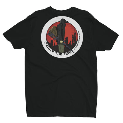 """Carry the Fire"" Black with Red Graphic T-Shirt"