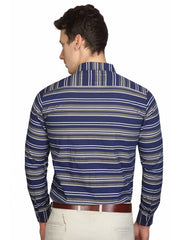 Venice Blue Striped Slim Fit Formal Shirt - 290122