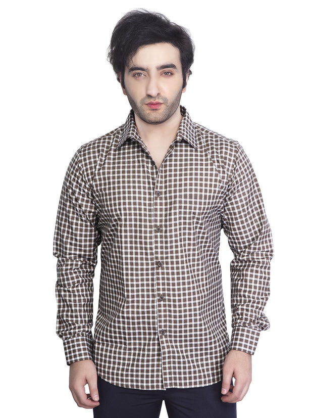 Mens Checkered  Slim Fit Formal Shirt - NEBULA - 126-Coffee Brown