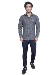 Mens Checkered  Slim Fit Formal Shirt - NEBULA - 125-Misty Black