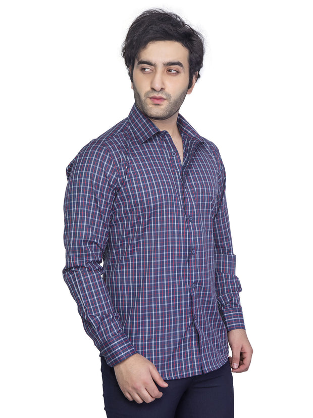 Mens Checkered  Slim Fit Formal Shirt - NEBULA - 122- Tulip Lavender