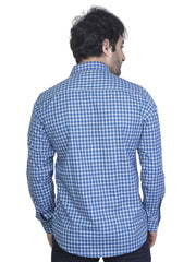 Mens Checkered  Slim Fit Formal Shirt - NEBULA - 124- Indigo Blue