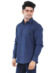 Indigo Print Denim Blue Slim Fit Casual Shirt - 1224