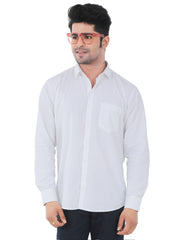 White Solid Slim Fit Formal Shirt - Trident