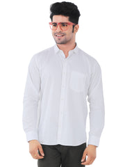 White Solid Slim Fit Formal Shirt - Falcon