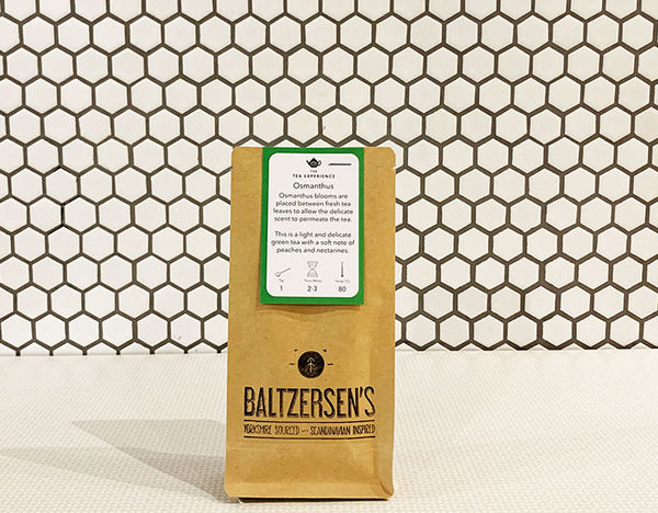 A 50g bag of Osmanthus green tea available at Baltzersen's in Harrogate