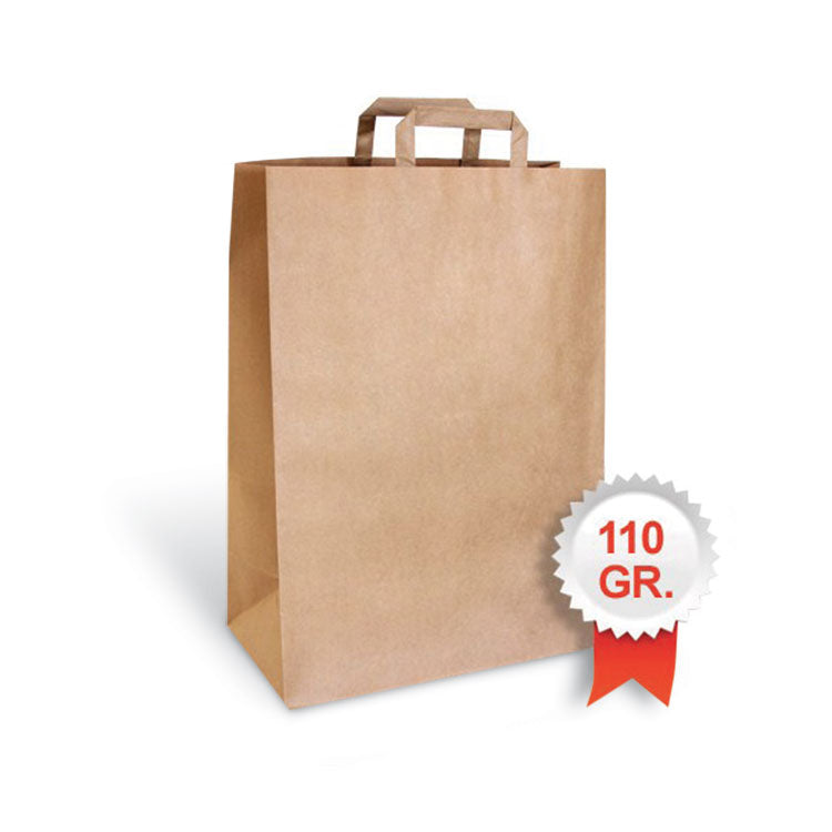 Shopper bio compostabile carta avana manico piattina 22x29 cm - Romano Biosolution