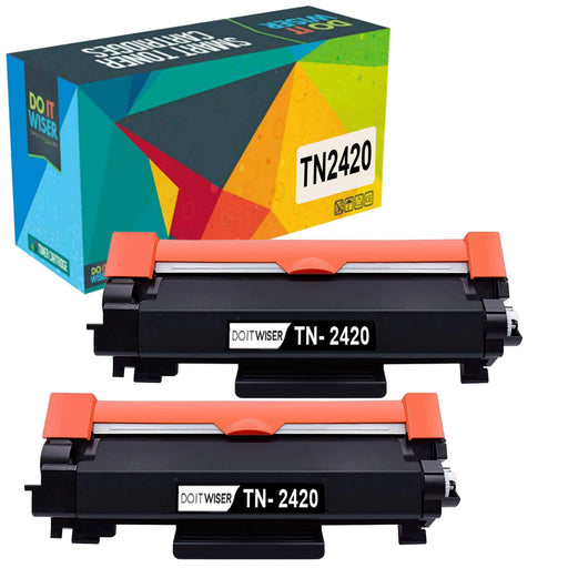 Compatible Brother TN2410 Toner Black 2 Pack High Yield by Do it Wiser