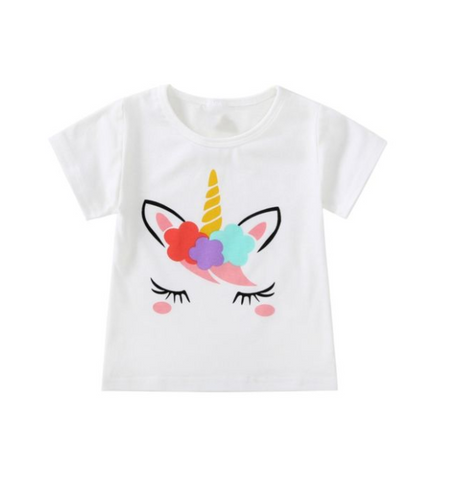 Girls' Unicorn Print Short-Sleeve T-Shirt