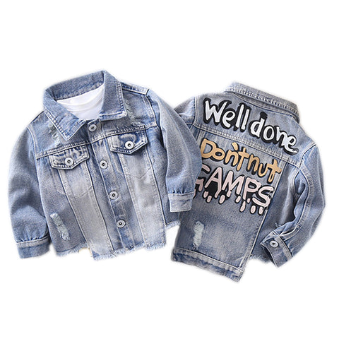 Girls' Patched Denim Jacket