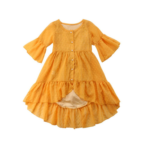 Girls' Boho Long-Sleeve Ruffle Dress
