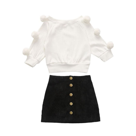 White Pom Sweater with Matching Black Skirt Set