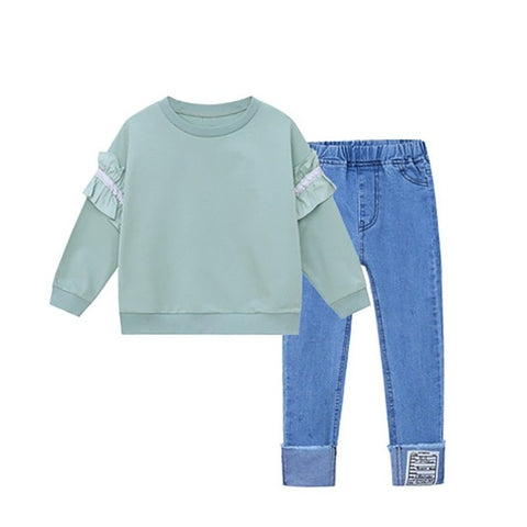Ruffle Sleeve Teal Sweatshirt and Jean Set