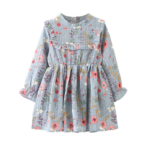 Autumn Sky and Floral Fields Dress