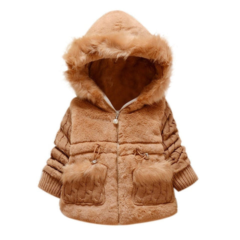 Thick Hooded Fur and Fuz Zip Up Coat- Multiple Colors