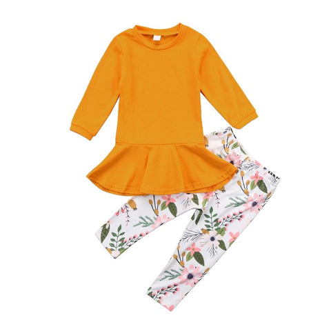 Girls' Top And Floral Print Pants Set