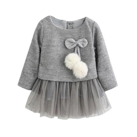 Pom-pom Sweater Tulle Top - Gray