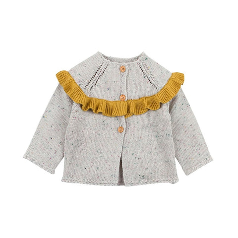 Yellow Speckled Knit Baby Cardigan