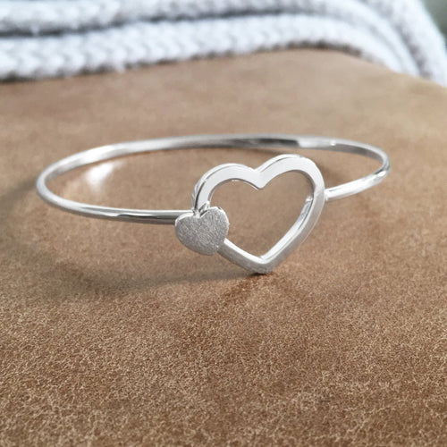 Sterling Silver Two Hearts Bangle Create Your Own Personalised Gift Box