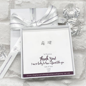 Sterling Silver Cluster of Stars Earrings Personalised Gift Box - Various Thoughtful Messages