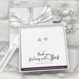 You added Sterling Silver Cluster of Stars Earrings Personalised Gift Box - Various Thoughtful Messages to your cart.