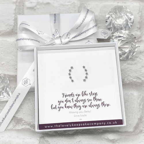 Sterling Silver Stars Earline Earrings Personalised Gift Box - Various Thoughtful Messages