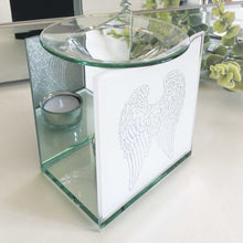 Load image into Gallery viewer, Remembrance Essential Oil Warmer, Glass, Angel Wings Motif