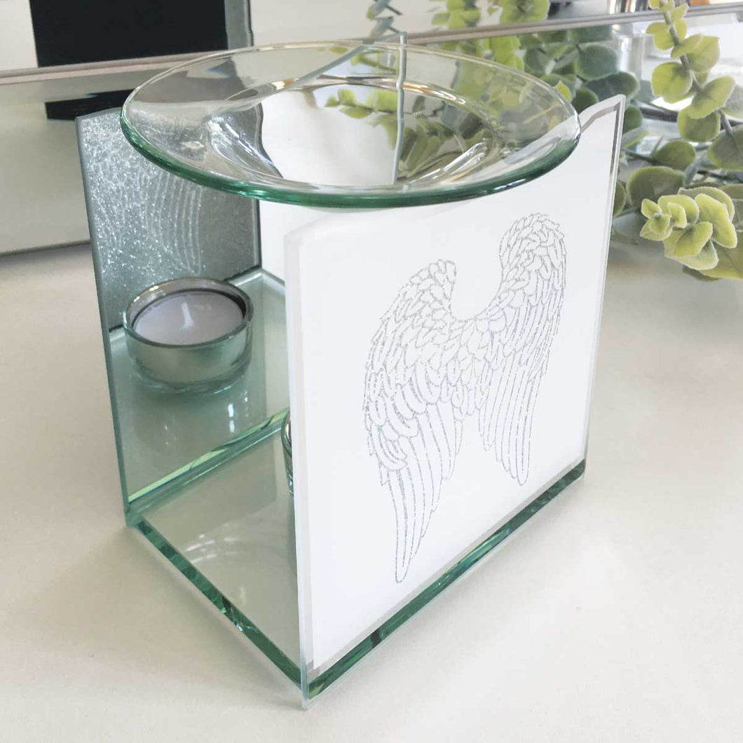 Remembrance Essential Oil Warmer, Glass, Angel Wings Motif