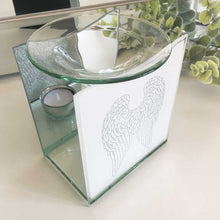 Load image into Gallery viewer, Remembrance Essential Oil Burner, Glass, Angel Wings Motif