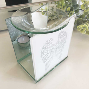 Remembrance Essential Oil Burner, Glass, Angel Wings Motif