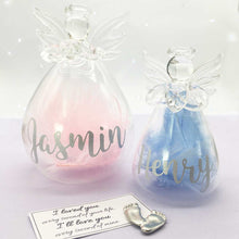 Load image into Gallery viewer, Pink/Blue or White Feather Filled Glass 'Angel Baby' Memorial Angel