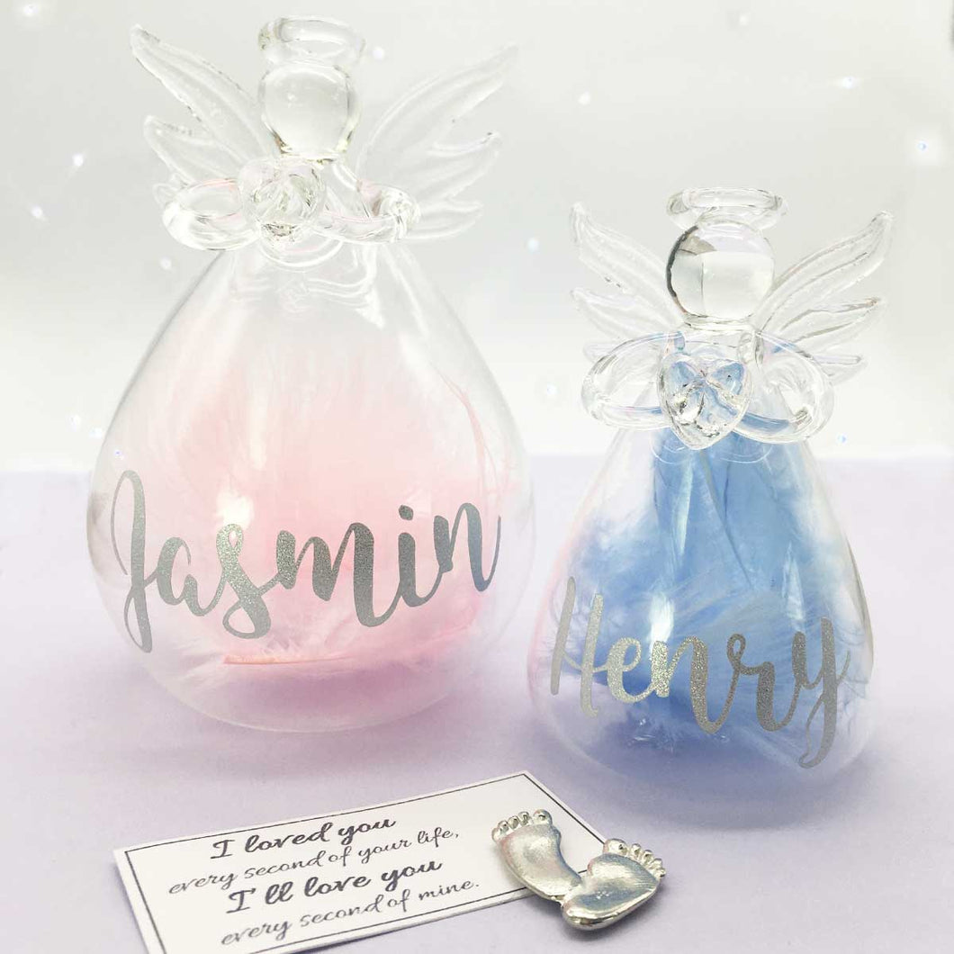 Pink/Blue or White Feather Filled Glass 'Angel Baby' Memorial Angel