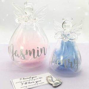 You added Pink/Blue or White Feather Filled Glass 'Angel Baby' Memorial Angel to your cart.